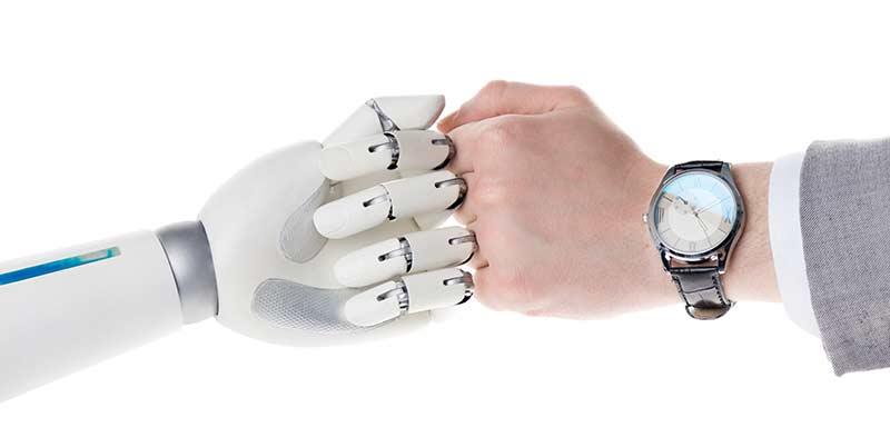 Robot bumping human hand