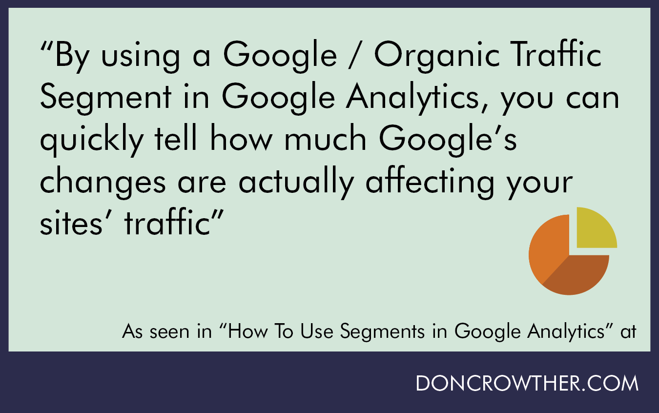 By Setting Up A Google Organic Traffic Segment In Google Analytics