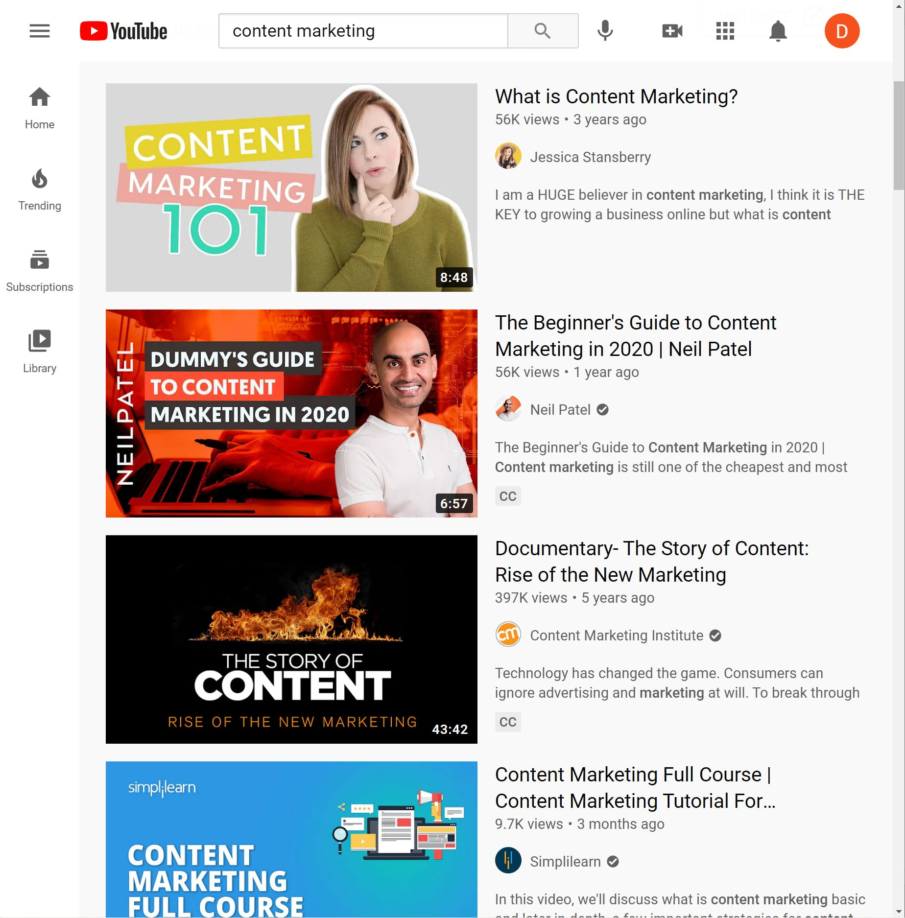 Screenshot of Youtube results for search for content marketing