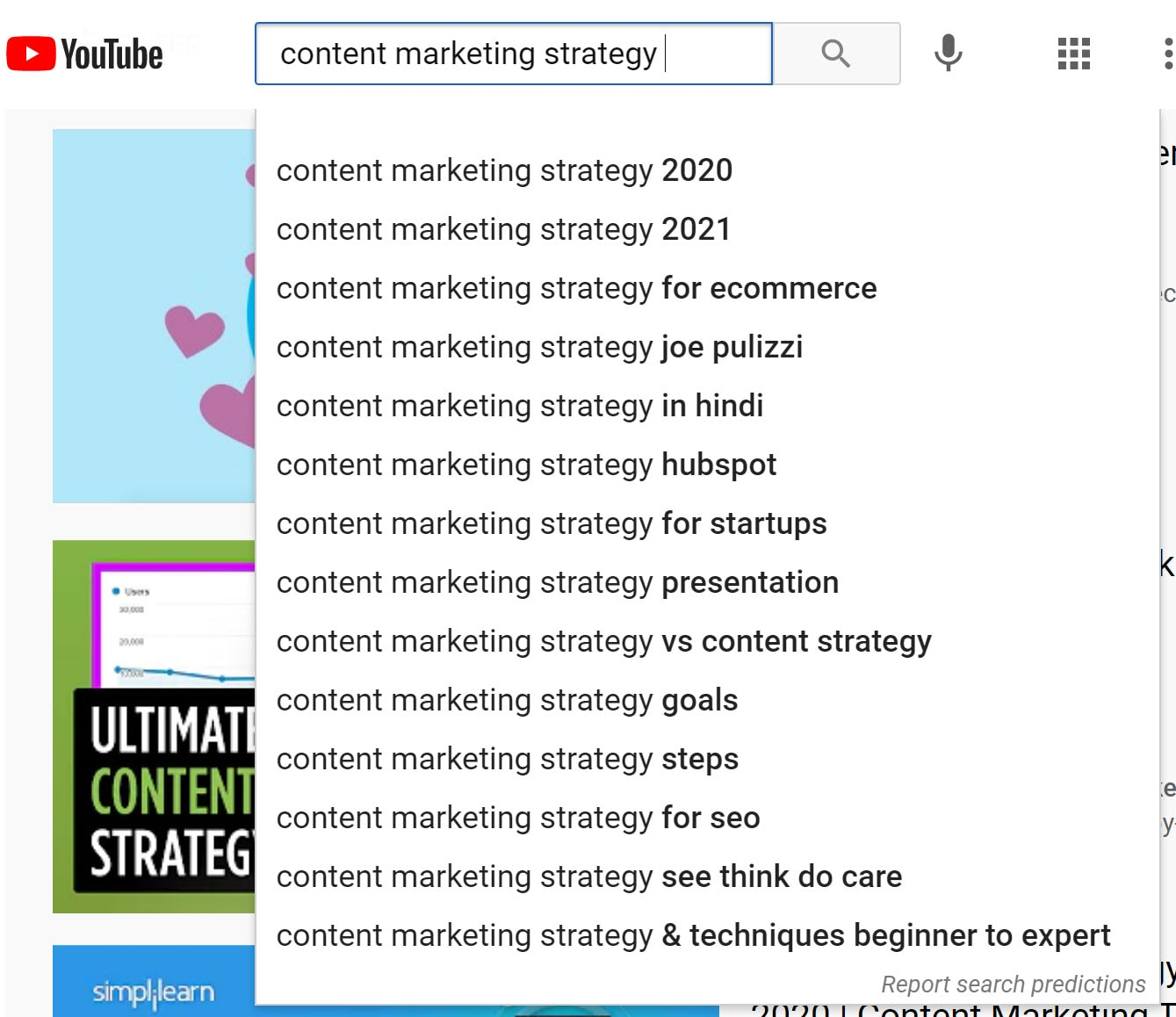 Screenshot of auto-complete results for a search on content marketing strategy
