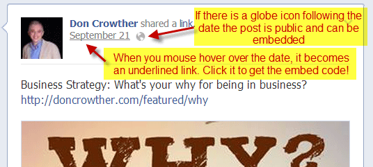 Embedding Facebook Posts Step 1 - Click on the Date