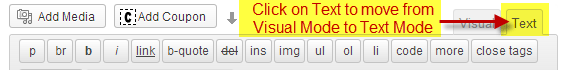 Embedding Facebook Posts Step 3: Make Sure You're in Text Mode