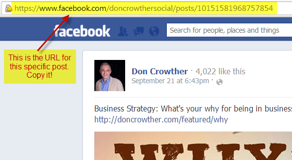 Embedding Facebook Posts Step 2: Get the URL