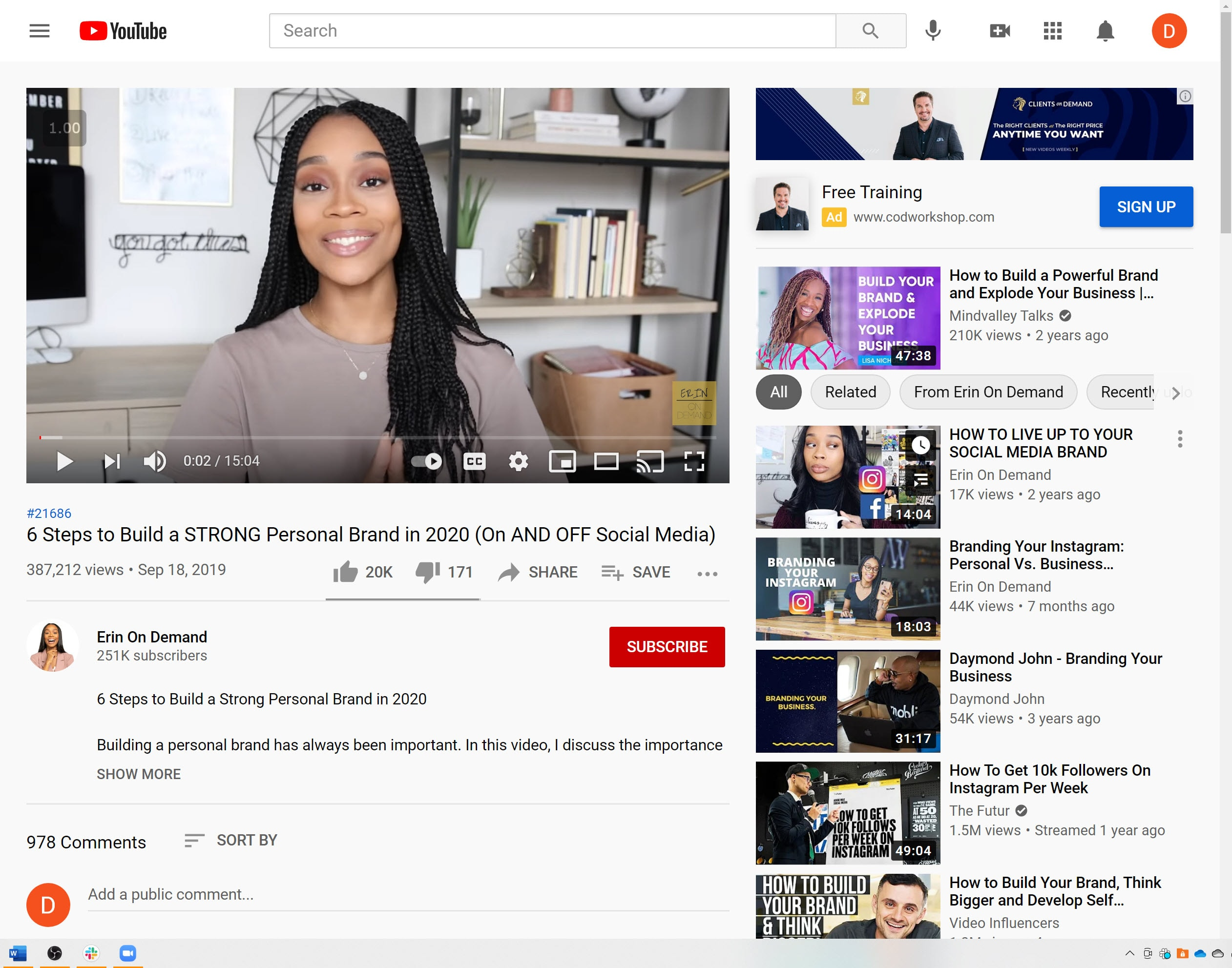 Screenshot of Erin On Demand related videos