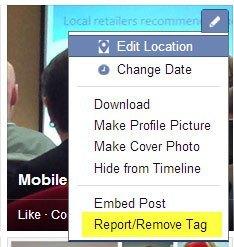 Facebook Report Remove Tag