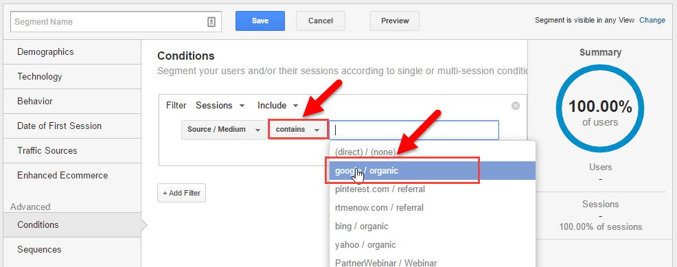 How to create a segment in Google Analytics