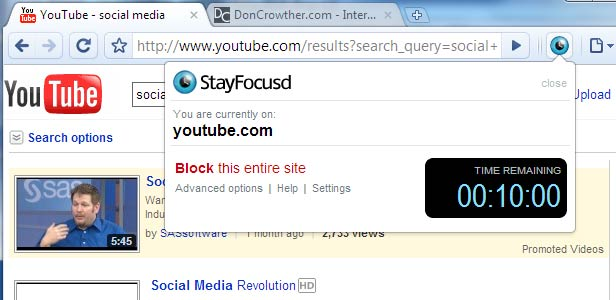 StayFocusd Google Chrome