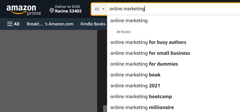 Online marketing search on Amazon to get content ideas
