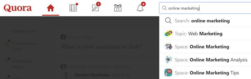 Online marketing search on quora