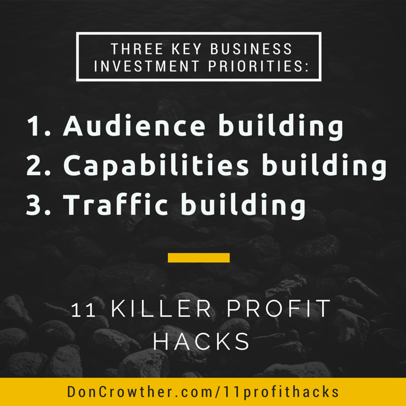 Three Key Business Investment Priorities https://doncrowther.com/featured/11-killer-profit-hacks